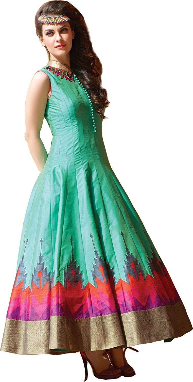 Orange Fab Women\'s Trendy Green Hand Work Silk Dress Material Fabric ...