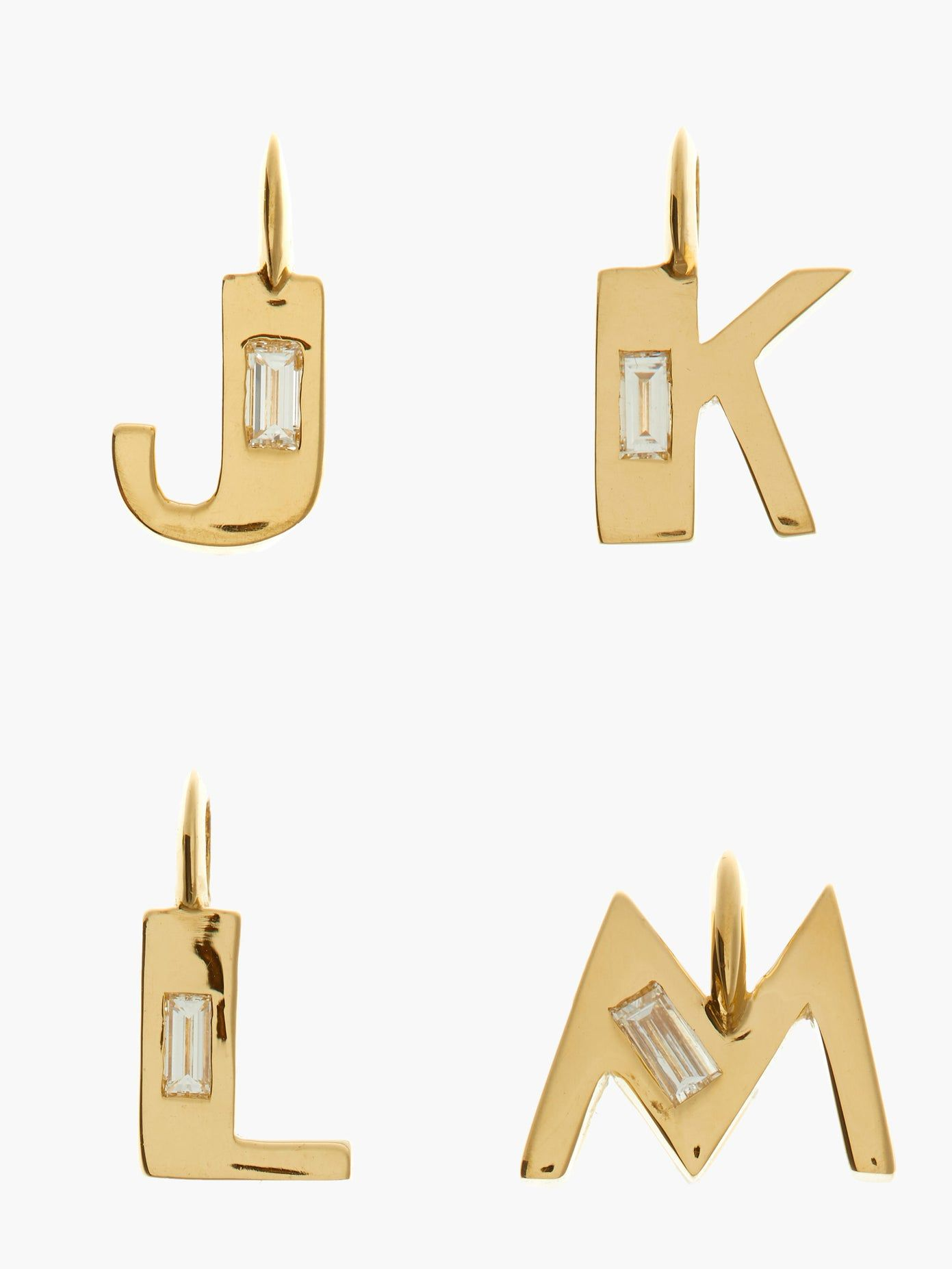 Deco diamond & 18kt gold alphabet A-M charm | Lizz