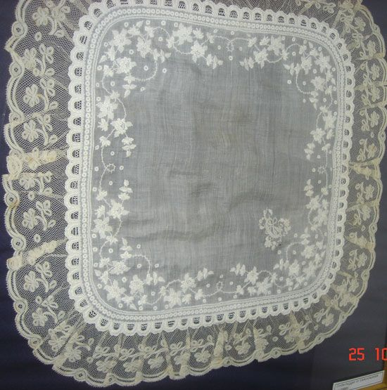 The following handkerchief is embroidered with spectacular whitework flowers