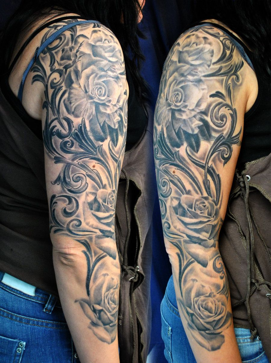 Sleeve Tattoo | Roses full sleeve tattoo by *gettattoo on ...