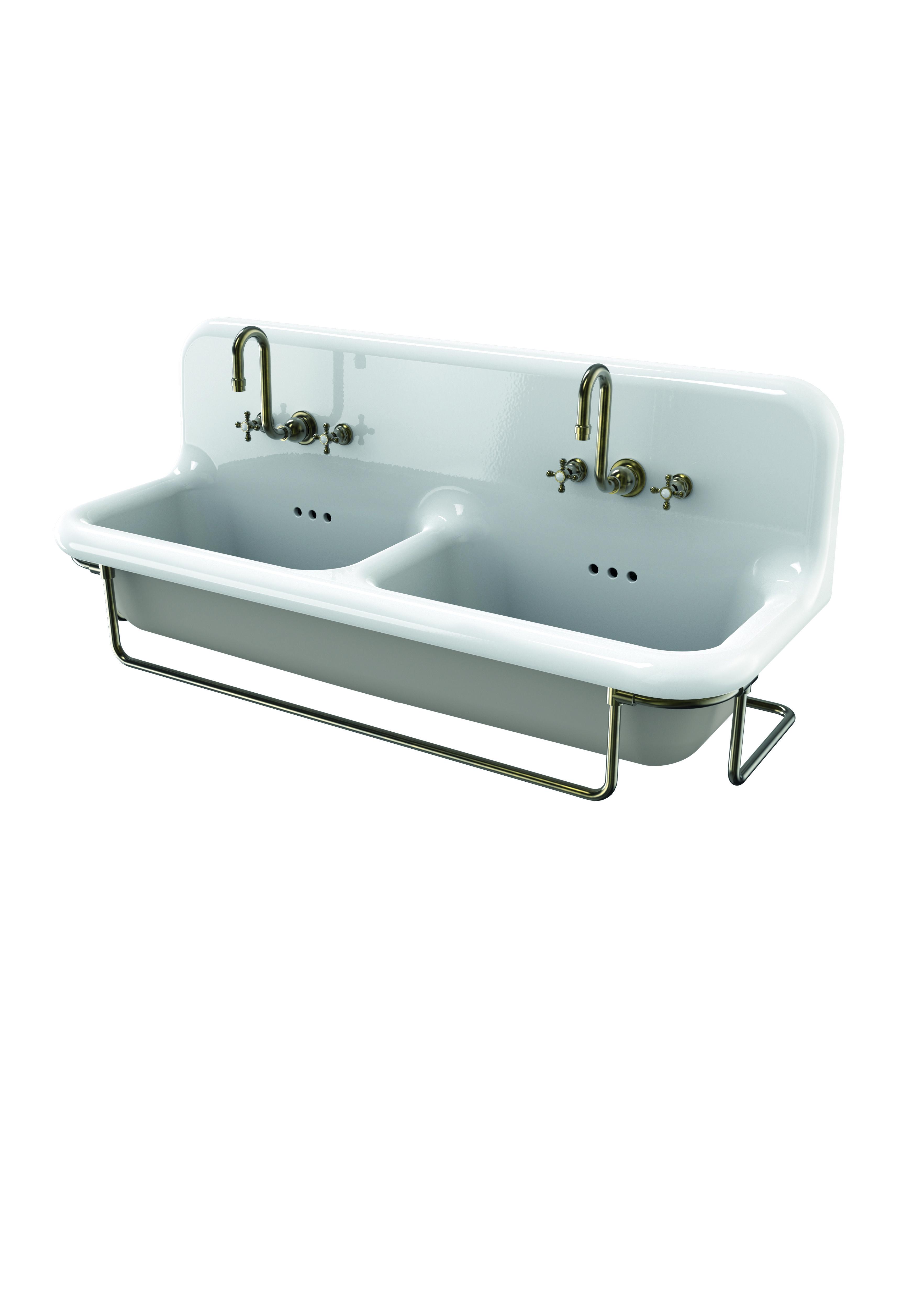 lavabo double truecolors 120 cm avec porte serviettes mà tallique