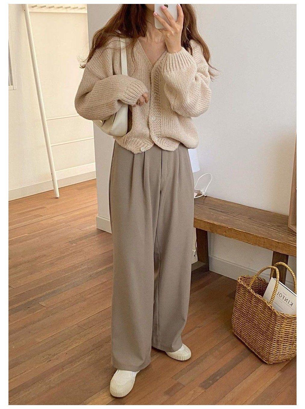 cardigan outfit korean casual