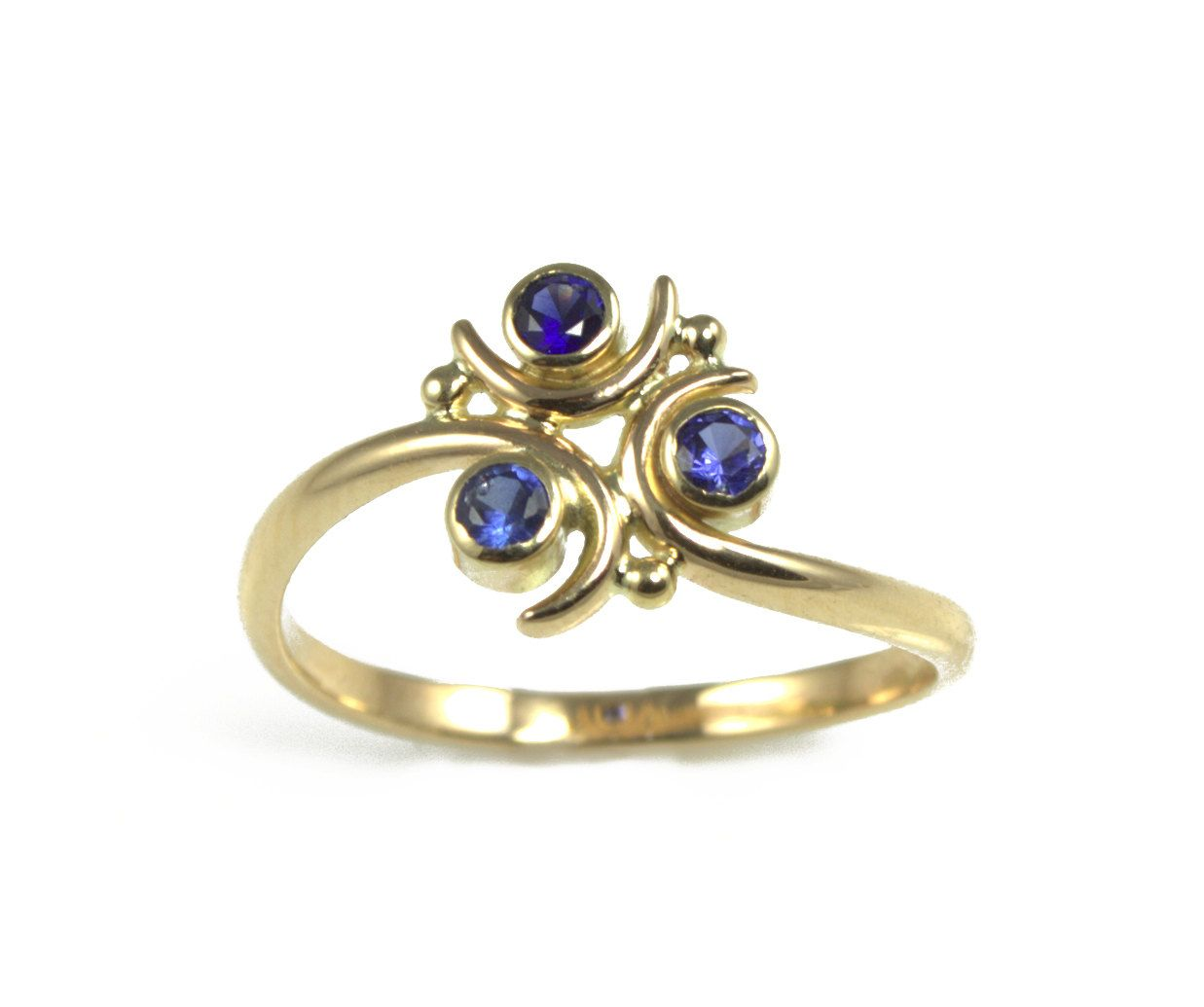 Zora Sapphire Engagement Ring in 14k Gold Geeky Ring Legend of