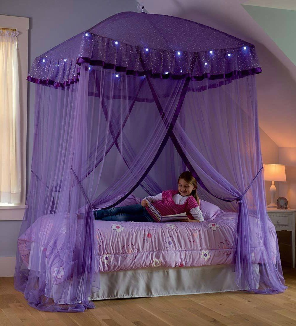- Details About Lighted Bed Canopy Sparkling Lights Bower Kids Girls