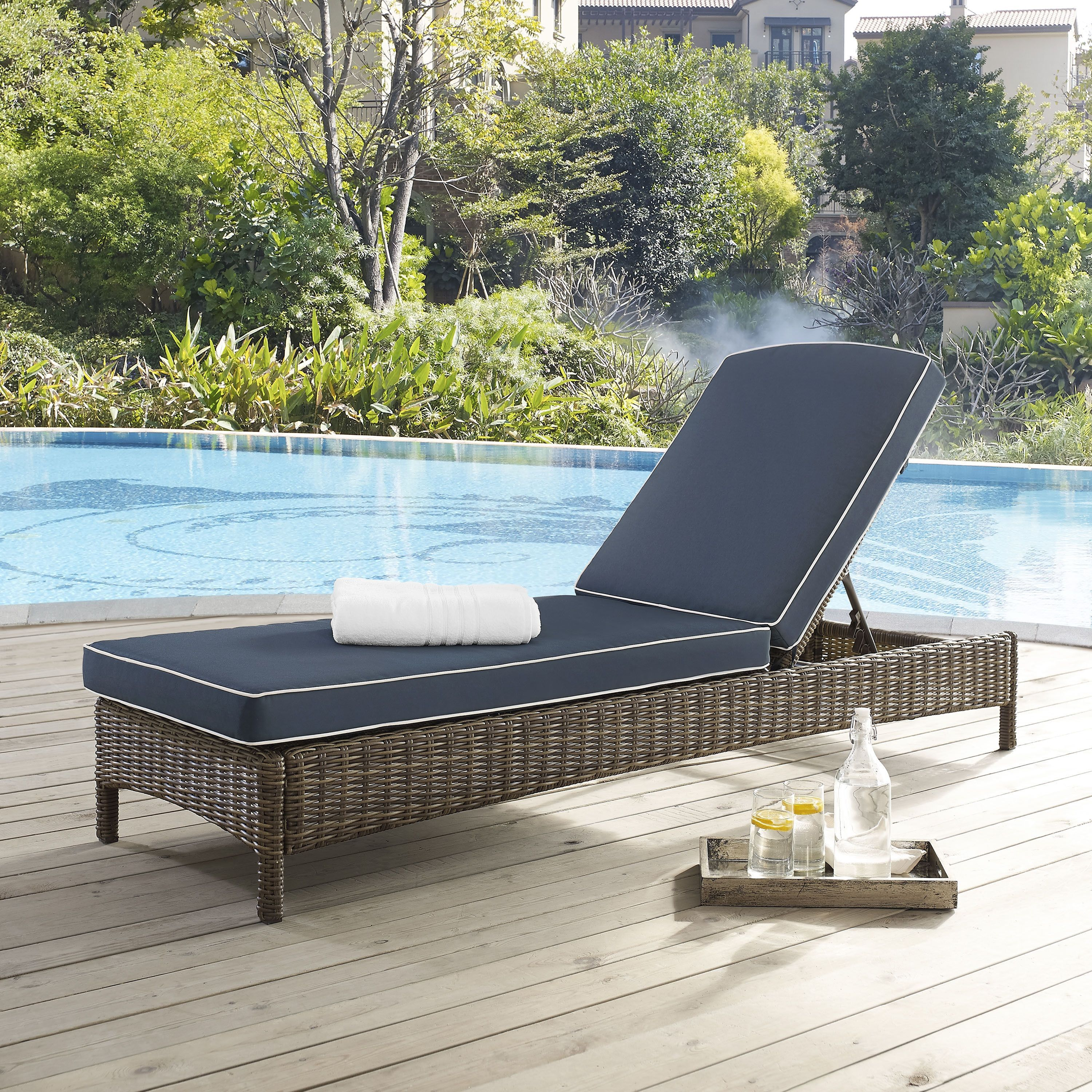 Crosley Furniture Bradenton Outdoor Chaise Lounge With Navy Cushions, Patio  Furniture
