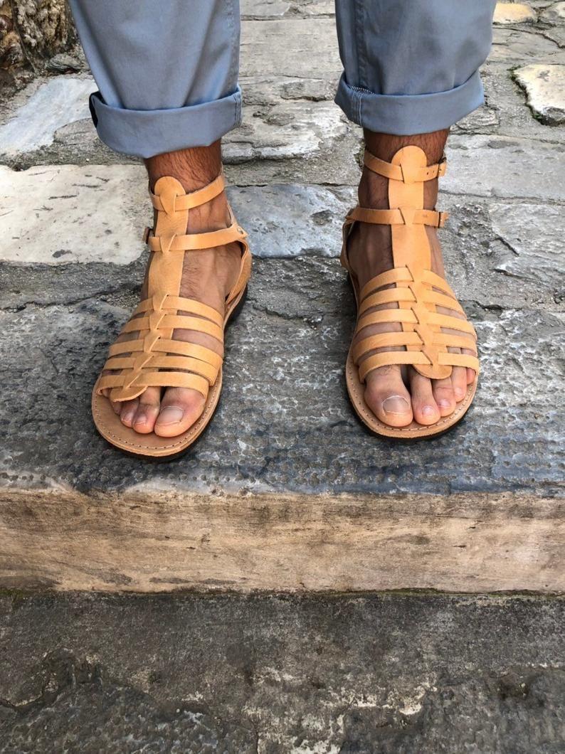 d7121ef3533a9 Gladiator Sandals Men, Leather Sandals, Summer Sandals, Greek ...