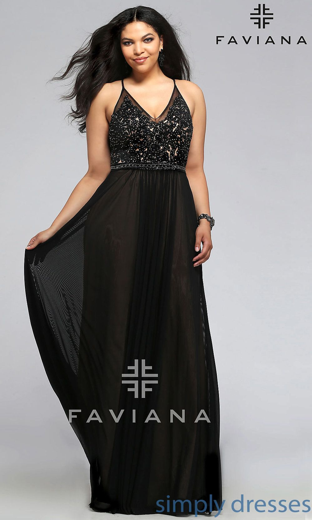 Faviana vneck plussize long black prom dress i feel pretty