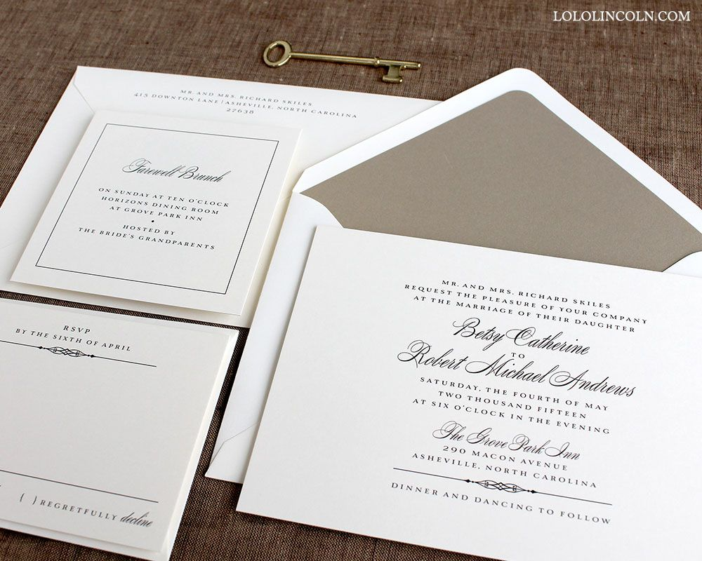 Classic Wedding Invitation shown in Black Ink on Natural White paper ...