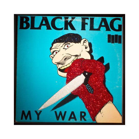 Glittered Black Flag My War Album Etsy Black Flag Album Art My War