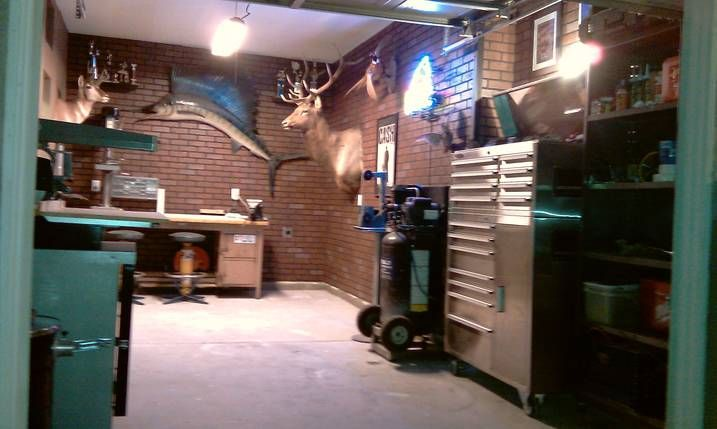 Garage Man Cave 3rd Car Garage Brick Interior Walls Tools