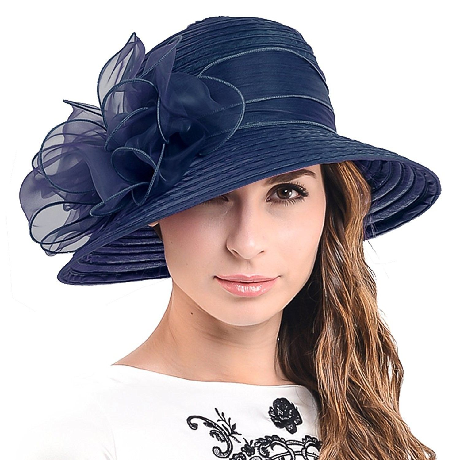 663af252386f1 FORBUSITE Ascot Kentucky Derby Bowler Church Cloche Hat Bowknot Organza  Bridal Dress Cap S051 - Navy - CT12F2NEVBZ - Hats   Caps