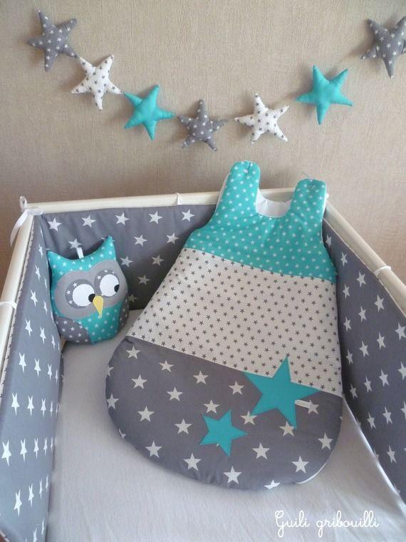 tour de lit gigoteuse coussin gris et bleu hibou baby stuff pinterest. Black Bedroom Furniture Sets. Home Design Ideas