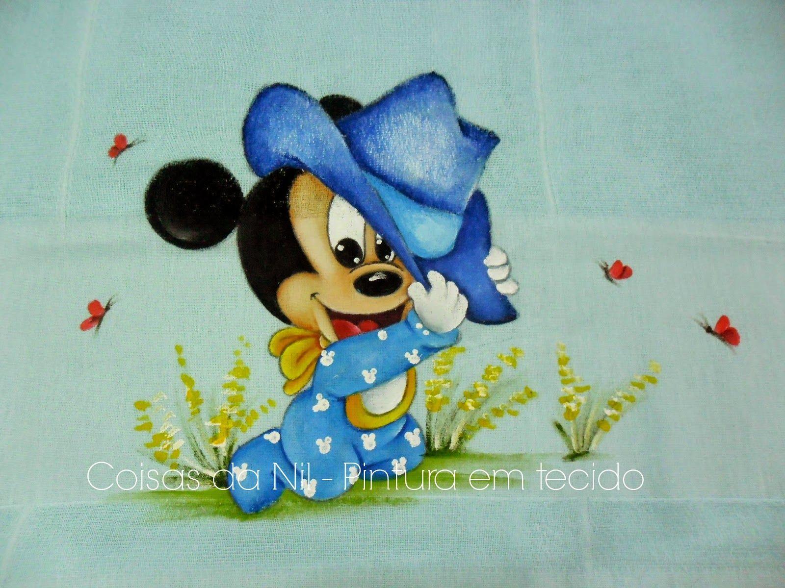 Desenhos Da Minnie Para Pintar Em Tecido: Coisas Da Nil - Pintura Em Tecido: Mickey Cowboy.