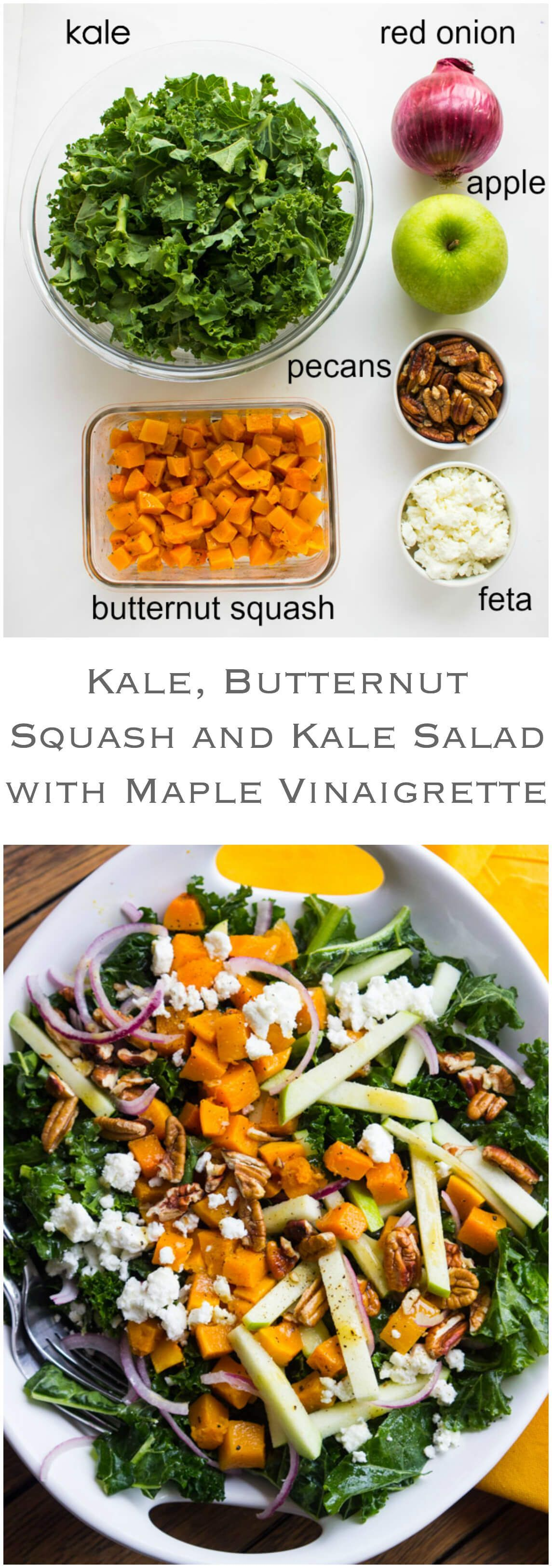 Butternut Squash and Apple Salad with Maple Vinaigrette Kale, Butternut Squash and Apple Salad - healthy kale greens with roasted butternut squash and tart apple, tossed with feta, pecans in a zesty-sweet maple vinaigrette |  @littlebrokenKale, Butternut Squash and Apple Salad - healthy kale greens with roasted butternut squash and tart apple...