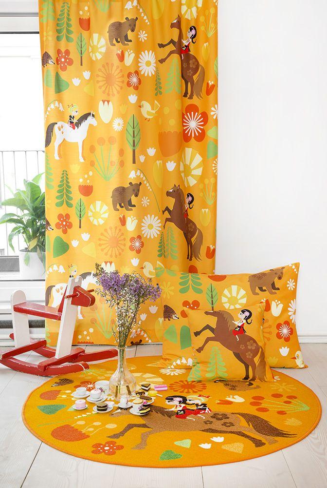 Vallila & Mimmit collection Kevätlaulu, orange curtain