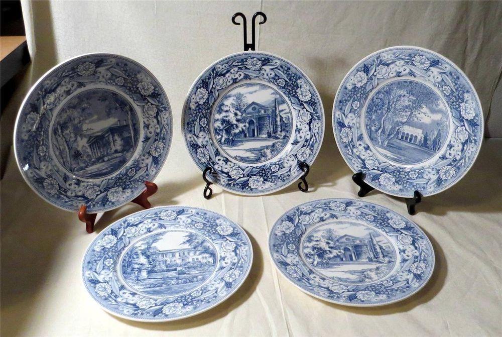 SET OF 5 WEDGWOOD CHINA POMONA COLLEGE DINNER PLATES 10 7/8\  VINTAGE BLUE & SET OF 5 WEDGWOOD CHINA POMONA COLLEGE DINNER PLATES 10 7/8\