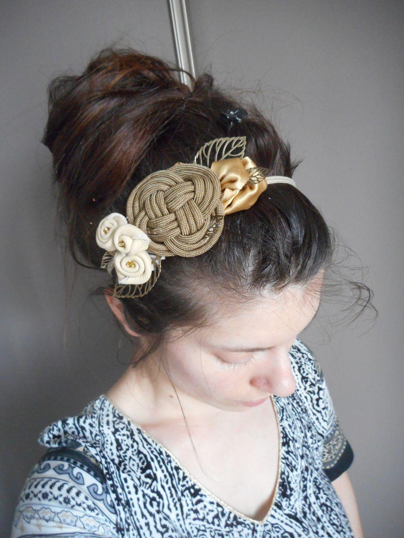 Headband, serre tête rétro taupe, cuir et noeud marin