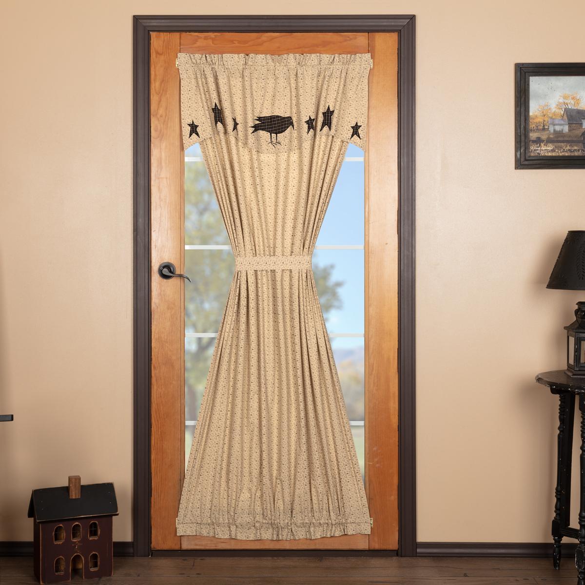 Https Www Bonanza Com Listings Kettle Grove Door Panel Curtain Crow Star Farmhouse Style 701537167 Fref Wp Primitive Curtains Door Panel Curtains Panel Doors