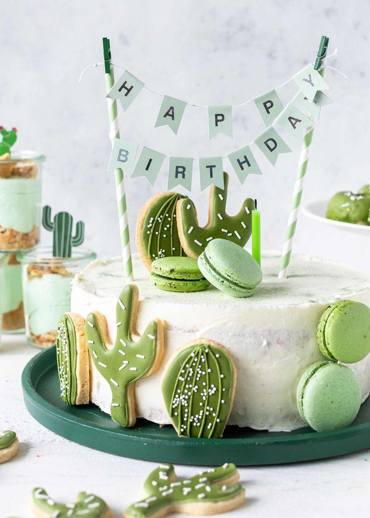 Rezept für eine Kaktustorte mit Royal Icing-Keksen für eine Kaktusparty #gateauhalloweenfacile
