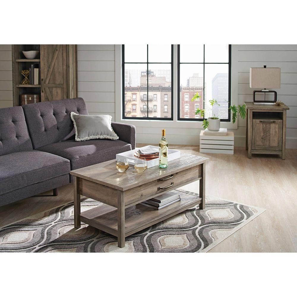 Coffee table set with 2 end tables lifttop design