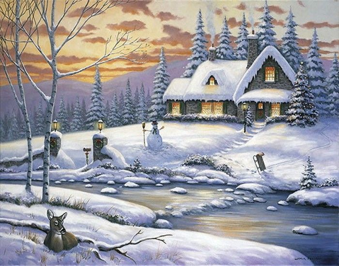 John zaccheo paysages d 39 hiver pinterest peinture hiver image hiver et hiver - Paysage enneige dessin ...