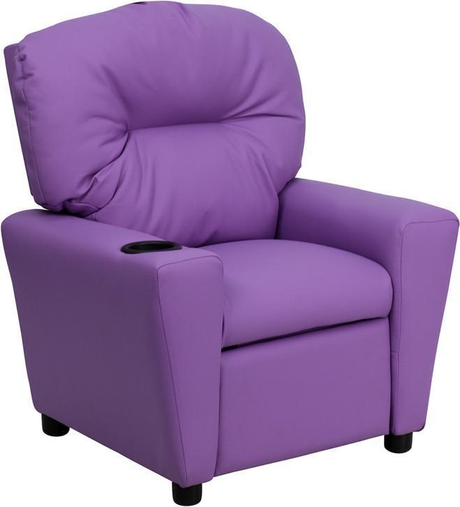 Excellent Contemporary Lavender Vinyl Kids Recliner With Cup Holder Bt Machost Co Dining Chair Design Ideas Machostcouk