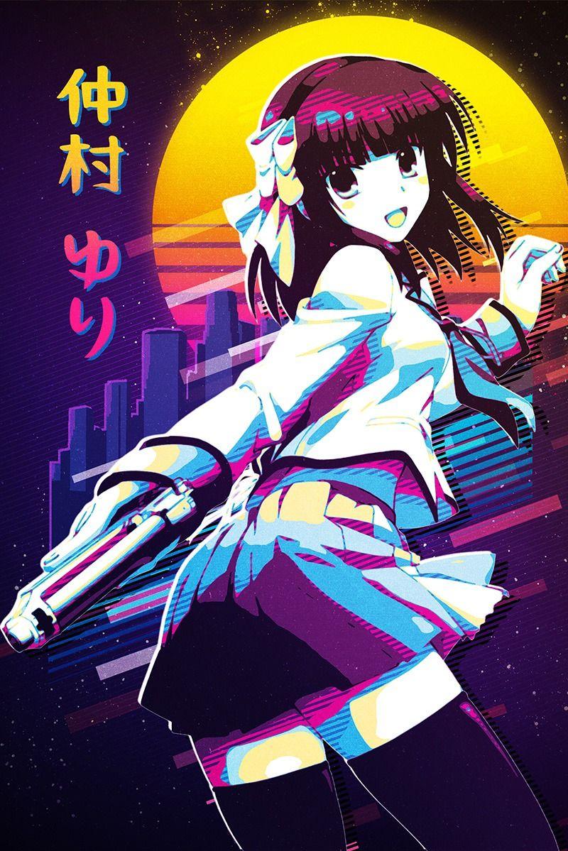 Yuri Nakamura - Angel Beats! 80's Retro Poster . . . #80sretro #anime #manga #metalposter #poster #displate #angelbeats #angelbeatsedit #angelbeatsanime #yurinakamura