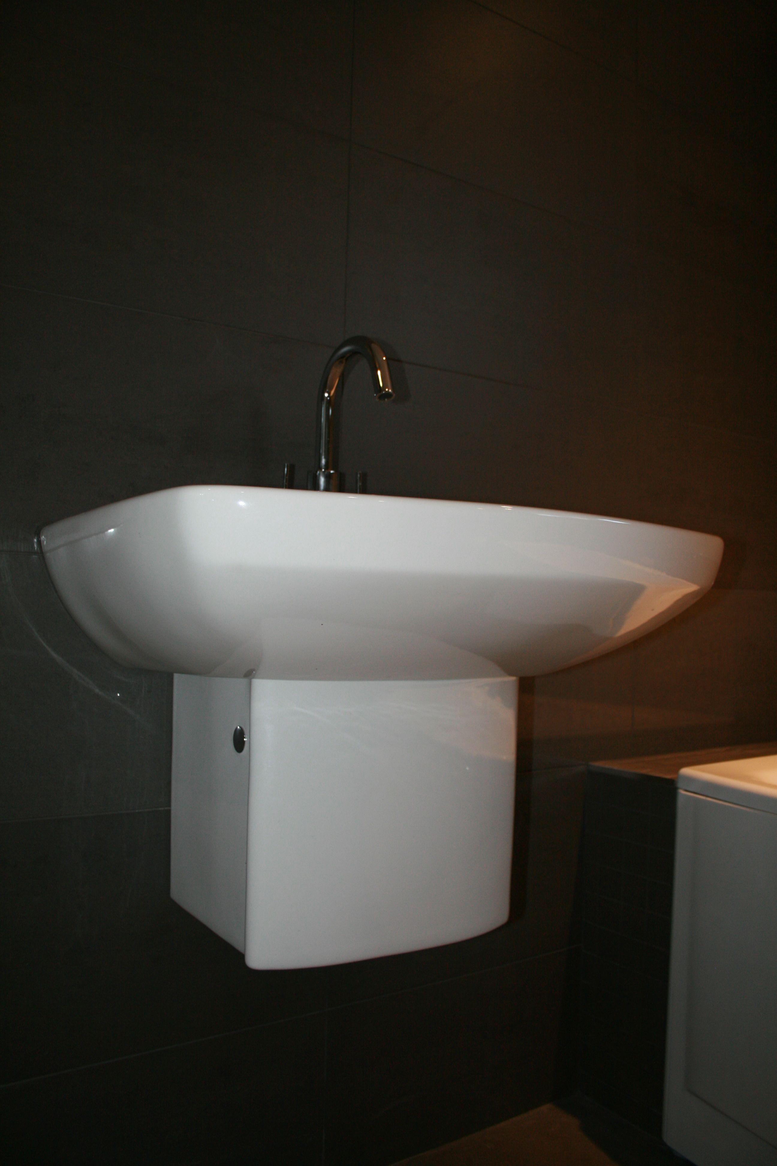 Roca Semi Pedestal Basin And Crosswater Tap Installed By Aquanero Bathroom Design Installation
