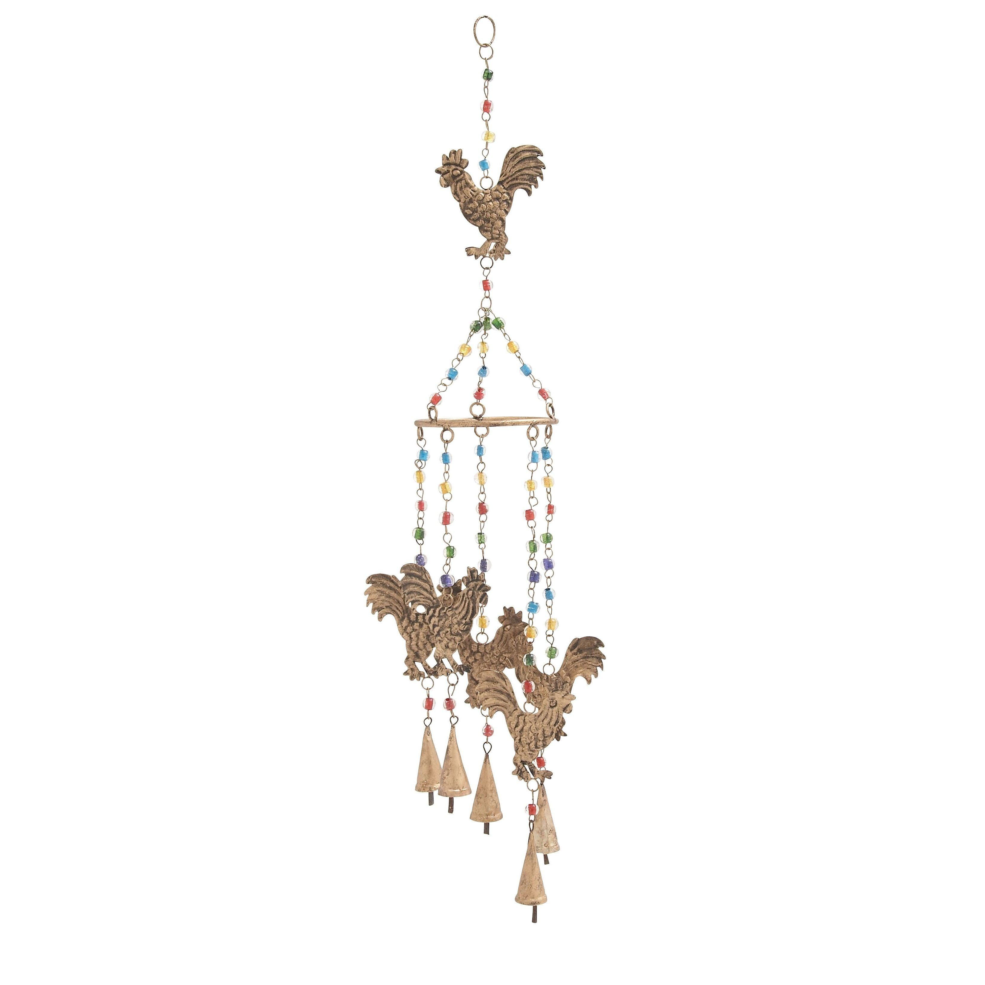 Studio 350 Metal and Glass Rooster Windchime Multi Color Multi