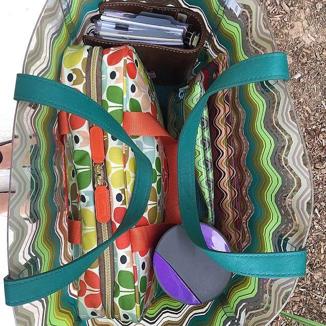 What's in my bag. Malden ochre Filofax, orla kiely weekender, missoni for target. Loving the pattern clash. Photo taken by @teddiconfetti on Instagram