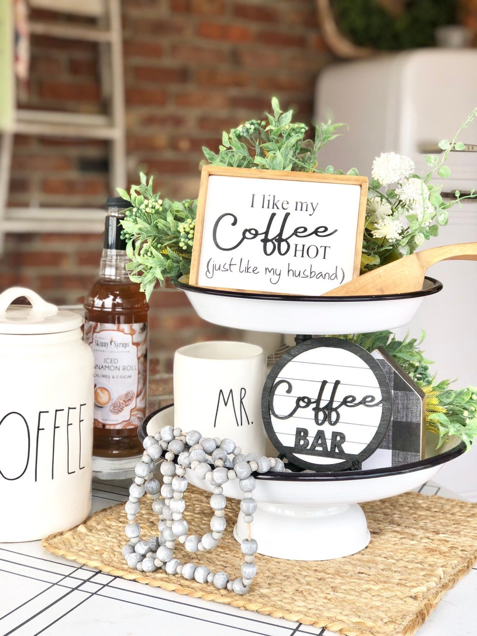 Coffee Sign Set Tiered Tray Bundle Coffee Sign Framed Etsy In 2021 Coffee Bar Tray Decor Tiered Tray Decor