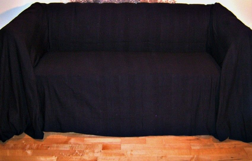 100 Cotton Black Extra Large 3 Or 4 Seater Sofa Throw