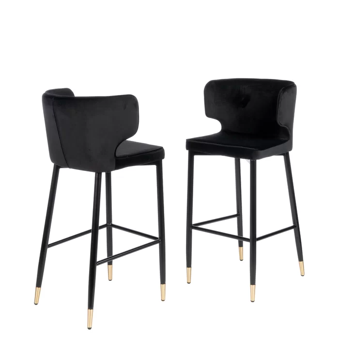 Everly Quinn Fortunato Curved Upholstered Bar Chair In Black