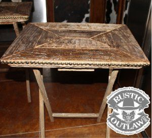 Rustic Weathered Wood TV Tray Tables - Set of 2 Rope Trim Nailhead ...