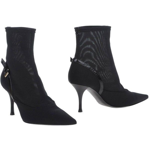 Sergio Rossi Ankle Boots ($480) ❤ liked on Polyvore featuring shoes, boots, ankle booties, black, buckle boots, black shootie, short boots, black booties and buckle booties