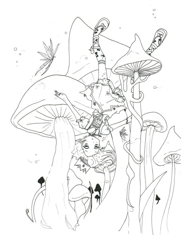 beautiful coloring pages for adults mushrooms