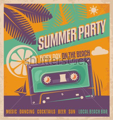 Sommer Party retro Poster-Vektor-Design. Beach Party mit Vintage Flyer oder Ad Vorlage.