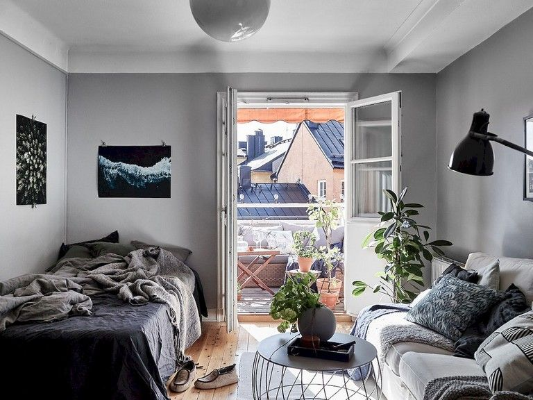 55 Awesome Studio Apartment With Scandinavian Style Ideas On A Budget Apartment Scandinavian Small Room Design Small Room Decor Studio Apartment Decorating