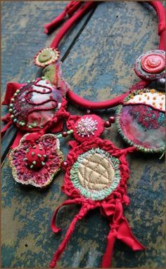 Textile Jewelry on Pinterest | Fabric Jewelry, Fabric Beads and Croch…