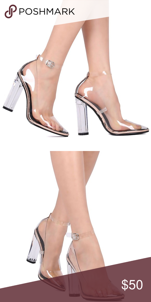 c8b7437afd8 CAPE ROBBIN- Clear Lucite Heel with Rose Gold NWB- Trendy hard to find Cape