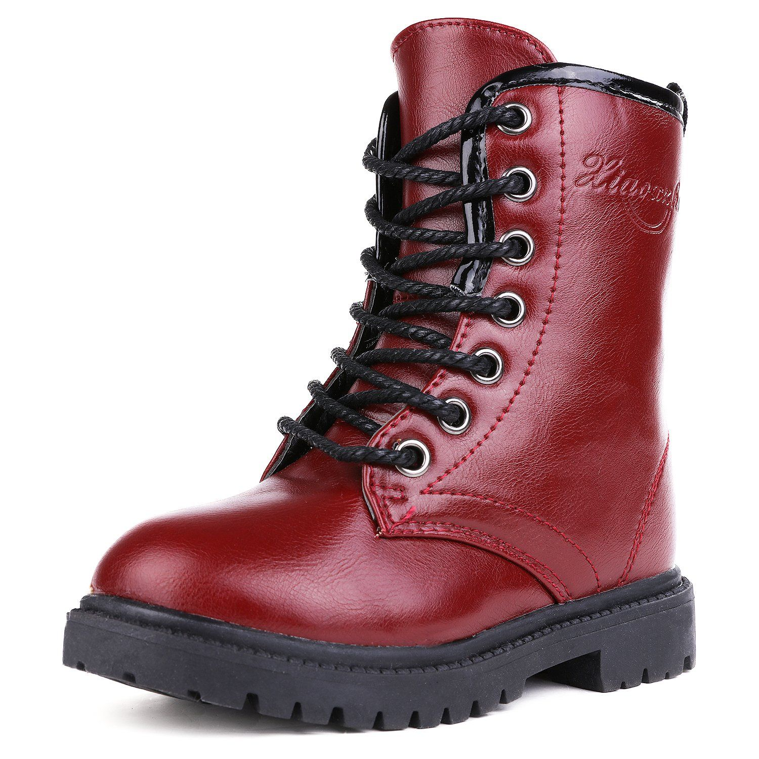 eaf32ed2aaad UBELLA Unisex Boys Girls Leather Side Zipper Lace-Up Mid Calf Martin Boots.  Rubber