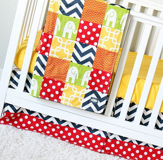 attractive and bright red nursery ideas | Bright crib bedding set, Elephant nursery | Elephant and ...