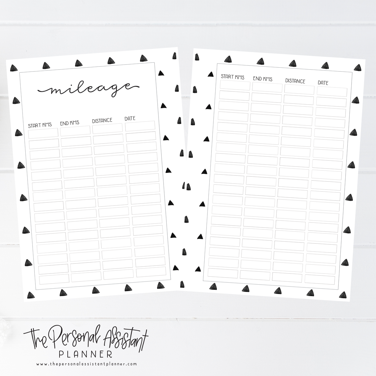 A Mileage Tracker Printable Planner Insert Pages  A Planner