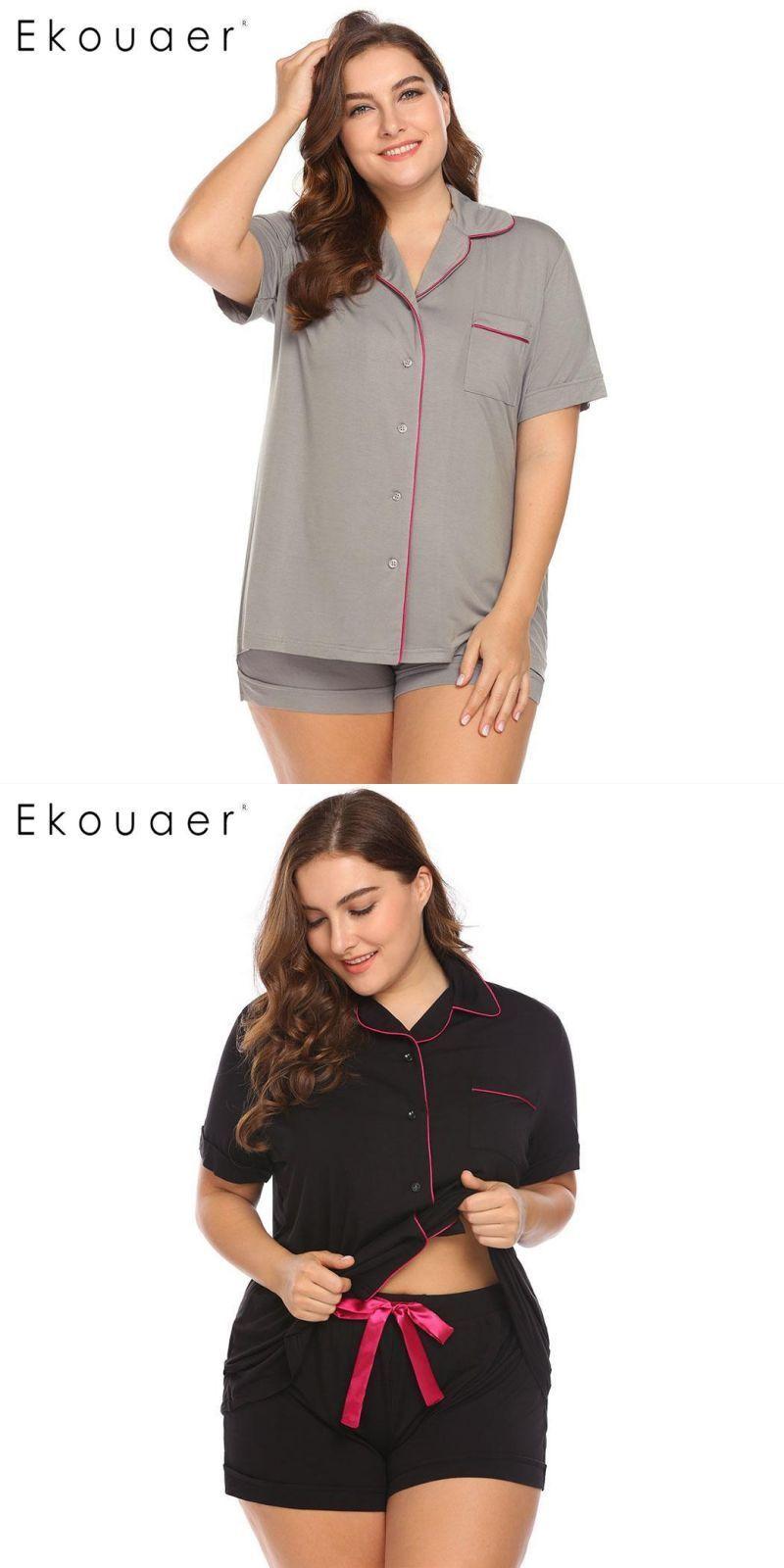 Plus size pajamas set women sleepwear short sleeve lapel collar button down  shirts and shorts nightwear suits xl-4xl  women  pajamas  turn-down  collar  ... 5f1c4e88f