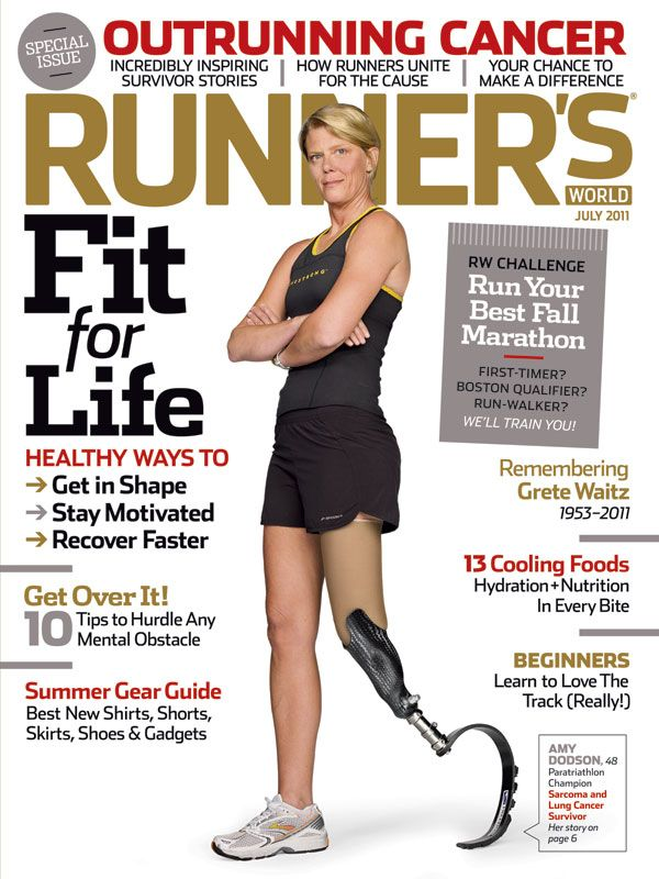 Amputee Amy Dodson, a CAF athlete and cancer survivor, makes the cover of @Runner's World magazine.
