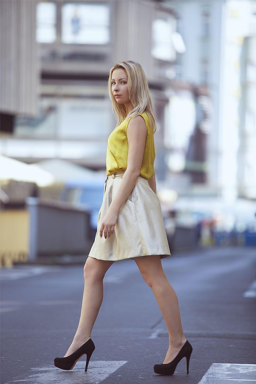 Katka model Jenny Jeshko Silk blouse, cotton necklace and eco-leather perfored skirt. All by #jennyjeshko.  Photo #ErikFotografKoritko