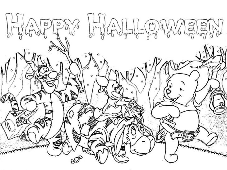 Winnie The Pooh And Friends On Halloween Night Coloring Page ...