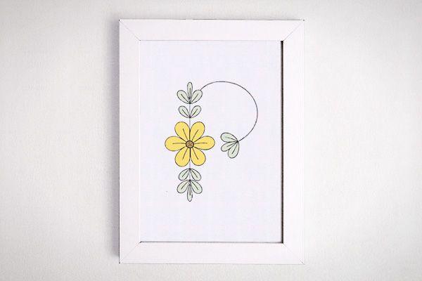 Letter P Initial Flower Print