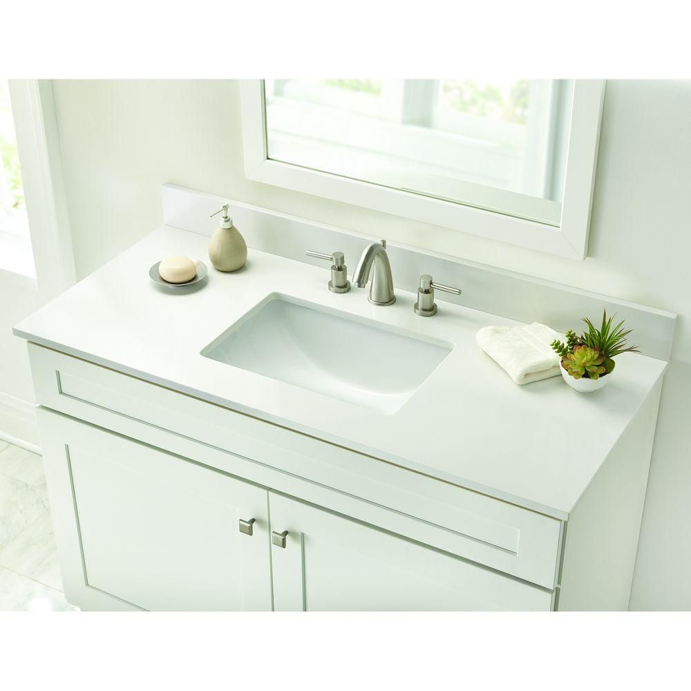 Home Decorators Collection 49 In. W Engineered Marble Single Basin Vanity  Top In Winter White