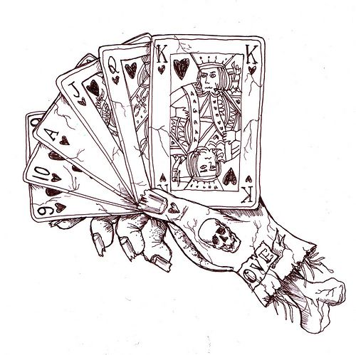 Line Art Card Design : Playing cards tattoo and piercing ideas